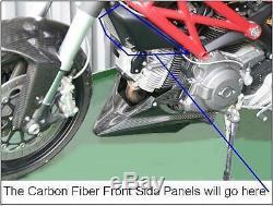 Ducati Monster 696 795 796 1100 Carbon Fiber Lower Side Air Ram Intake Fairings