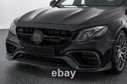 Pour Benz W213 E63 Amg Fibre De Carbone Une Lèvre De Pare-chocs Avant + Couvercle D'entrée De Splitters